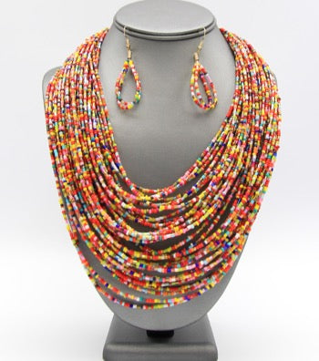 Layered Seed Bead Necklace Set