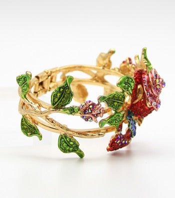 Rose & Crystal Bangle Bracelet