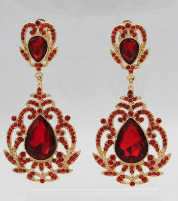 Statement Victorian Crystal Clip-on Drop Earrings