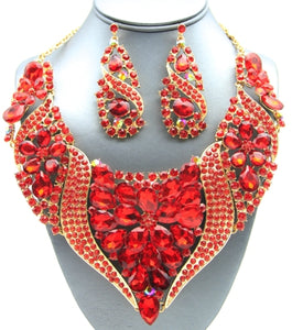 Statement Crystal Wave Bib Necklace Set