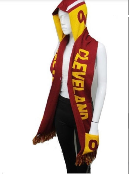 CLEVELAND Double Layer Thick Knit Hooded Winter Scarf With Pockets