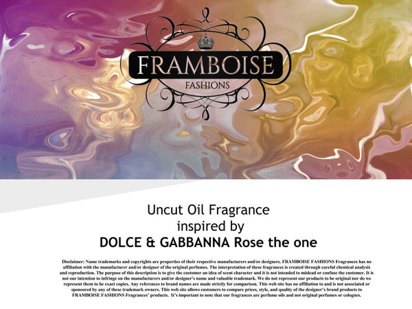 Uncut Oil Fragrance Inspired By~DOLCE & GABBANNA Rose The One