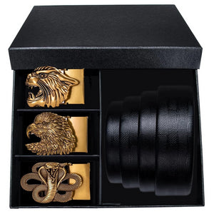 Gold Animal Three Buckle Leather Belt Box Set