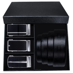 Black & Silver Three Buckle Leather Belt Box Set