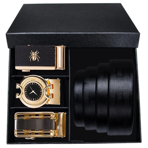 Timeless Three Buckle Leather Belt Box Set