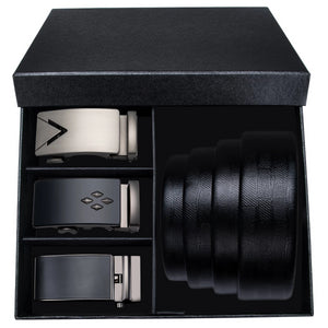 Enterprise Three Buckle Leather Belt Box Set
