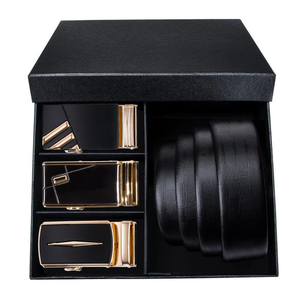 Sleek Gold and Black Three Buckle Leather Belt Box Set