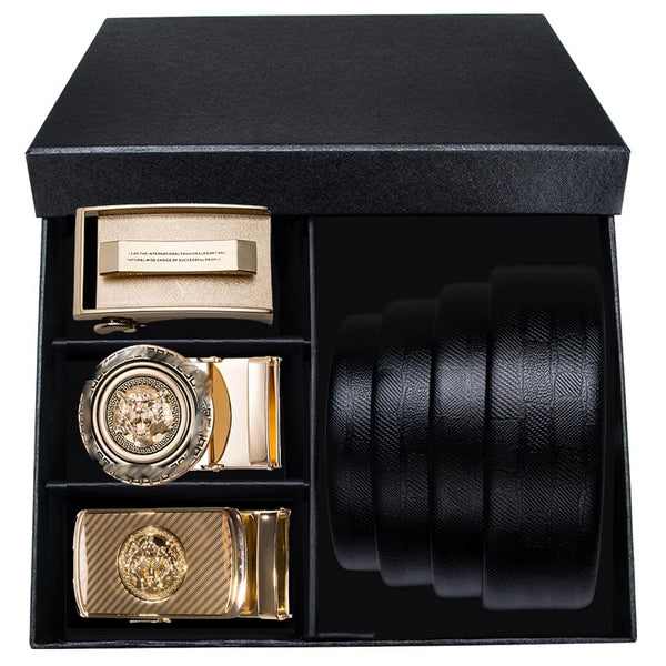Upscale Three Buckle Leather Belt Box Set