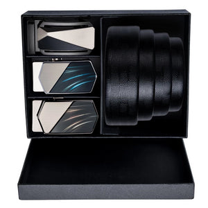 Cosmic Wave Three Buckle Leather Belt Box Set