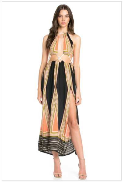 Queen Of Thrones Womens Multi-Color Rope Tie Maxi Dress