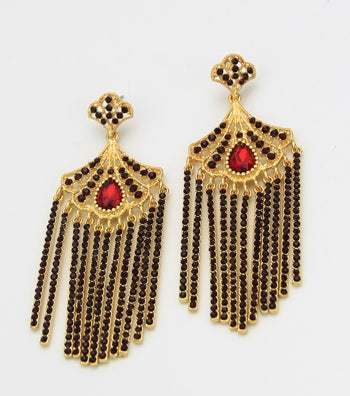 Cleopatra Fringe Crystal Drop Earrings