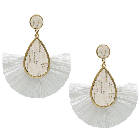 Fan and Cork Teardop and Tassel Earrings
