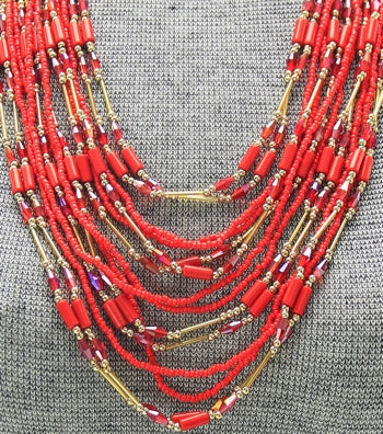 Multi-Strand glass Beaded Boho Necklace Set