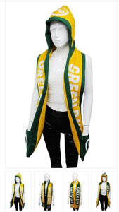GREEN BAY Double Thick Layer Knit Hooded Winter Scarf with Pockets