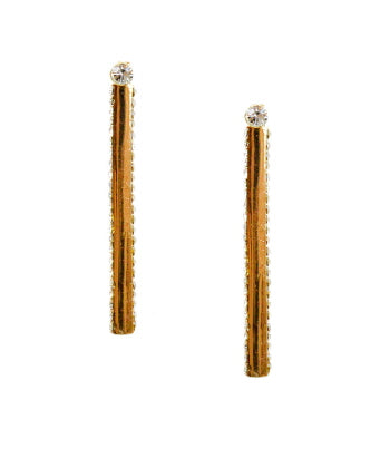 Rhinestone Bar Front and Back Earrings