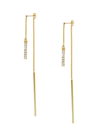 Two Sided Pave Bar and Plain Bar Earrings