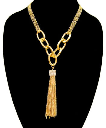 Pave Cube Chain Tassel Pendant Necklace