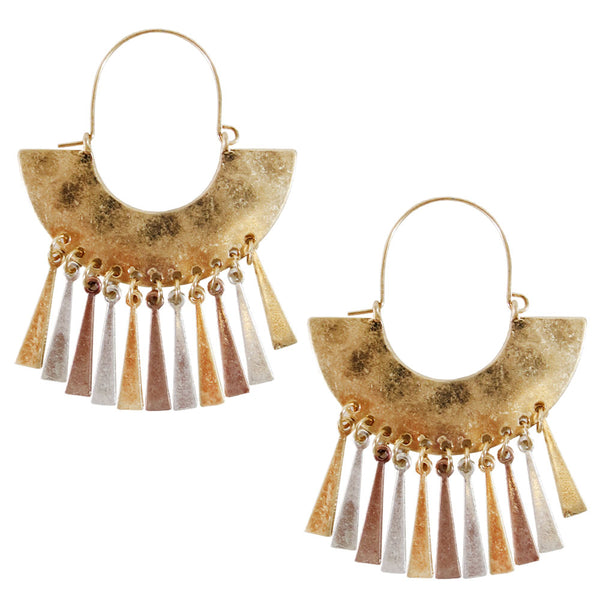 Hammered Gypsy Tassel Earrings