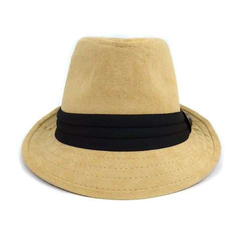 Tan Suede Fedora Hat with Button Accent & Band Trim