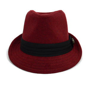 Burgundy      Fedora Hat with Button Accent & Band Trim