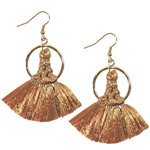 BoHo Hoop Raffia Earrings