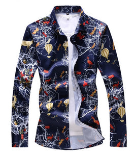 Gallactic Travels Slim Fit Long Sleeve Casual Shirt