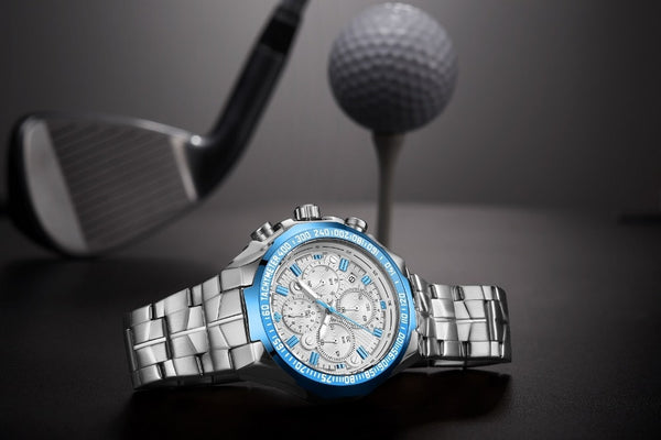Sky Blue- Silver Water Resistant Quartz Sports Watch