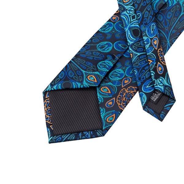 Blue Peacock Neck Tie Set