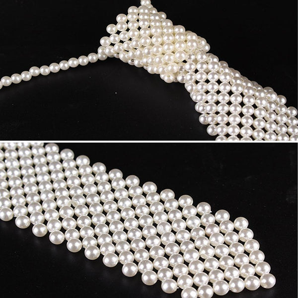 Faux Pearl Tie Necklace