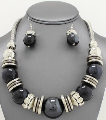 Pearl & Paved Chunky Necklace Set