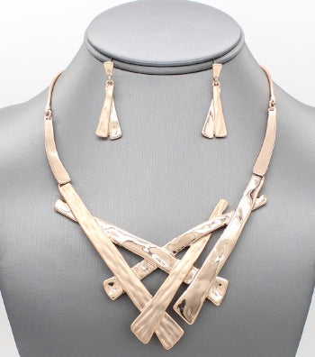 Dropped & Hammered Necklace Set