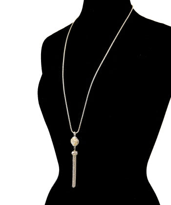 Pave Clover with Tassel Pendant Necklace