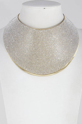 Diva Thick Metallic Rhinestone Choker Necklace