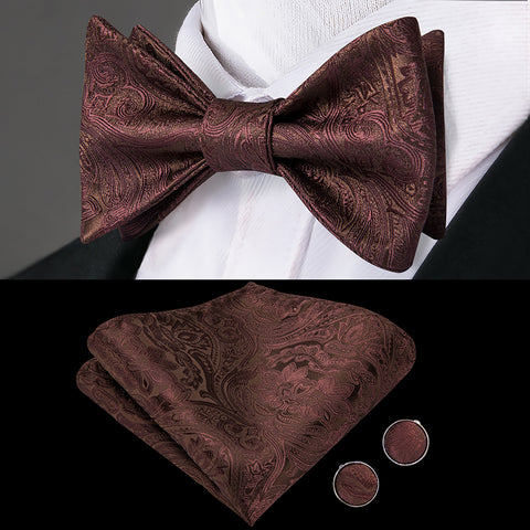 Chocolate Copper Mens Butterfly Bow Tie Set