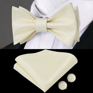 LH-2012 Framboise Fashions Luxury 100% Silk Woven Men Butterfly Self Bow Tie New Champagne Designer BowTie Handkerchief Hanky Cufflinks Suit Set - Ties