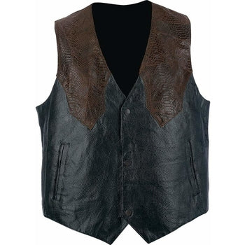 Hand Sewn Pebble Grain Genuine Leather Western Style Vest