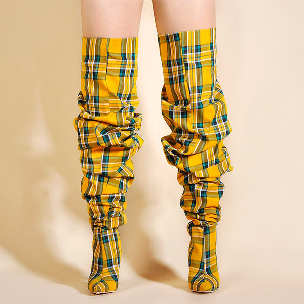 Limited Edition Plaid And Pleated Boots