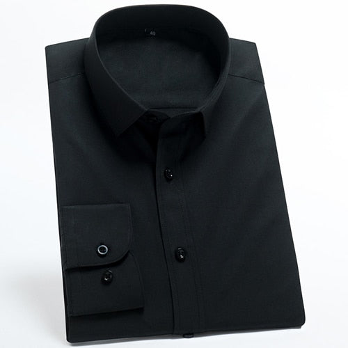 Flat Black Long Sleeve Dress Shirt