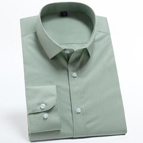 Army Green Long Sleeve Dress Shirt