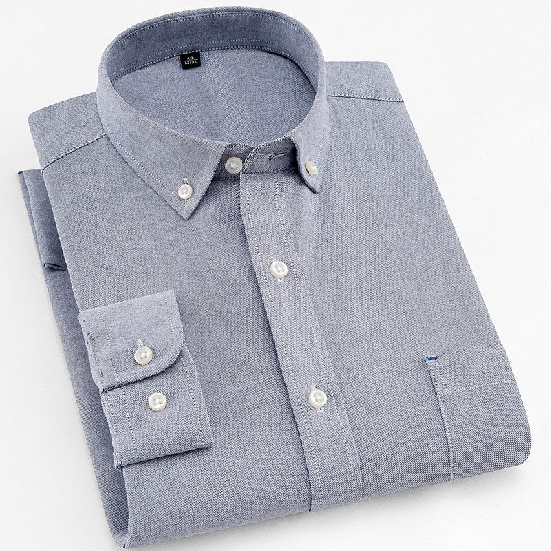 Gray Oxford Slim Fit Dress Shirt