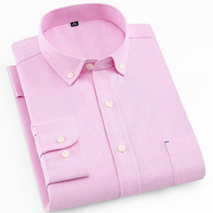 Light Pink Oxford Long Sleeve Slim Fit Dress Shirt