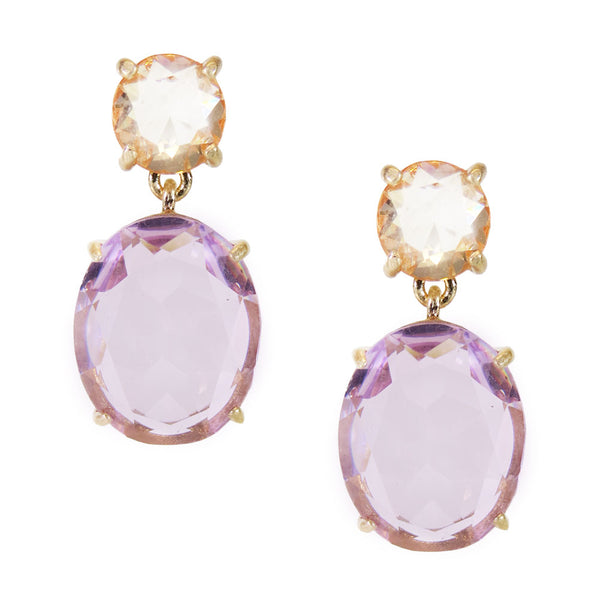 Crystal Oval Gem Drop Earrings