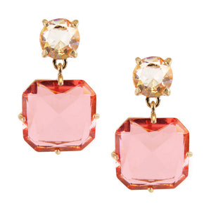 Squared Drop Gem Earrings