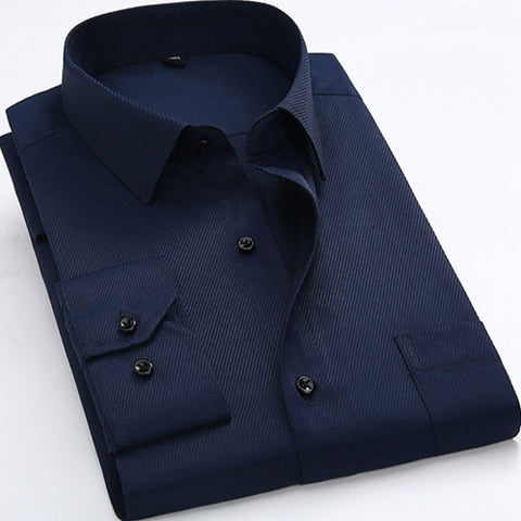 Deep Blue Long Sleeve Twill Dress Shirt