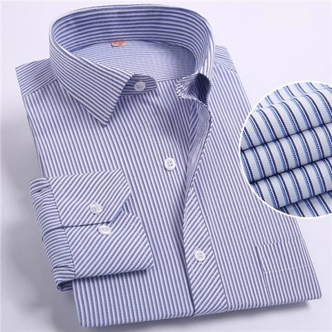 Blue and Black Striped Long Sleeve Dress Shirt
