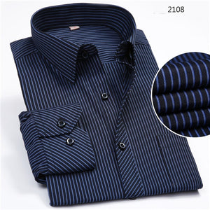 Navy Striped Long Sleeve Non-Iron Shirt