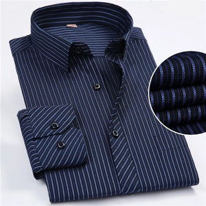 Blue Striped Long Sleeve Non-Iron Dress Shirt