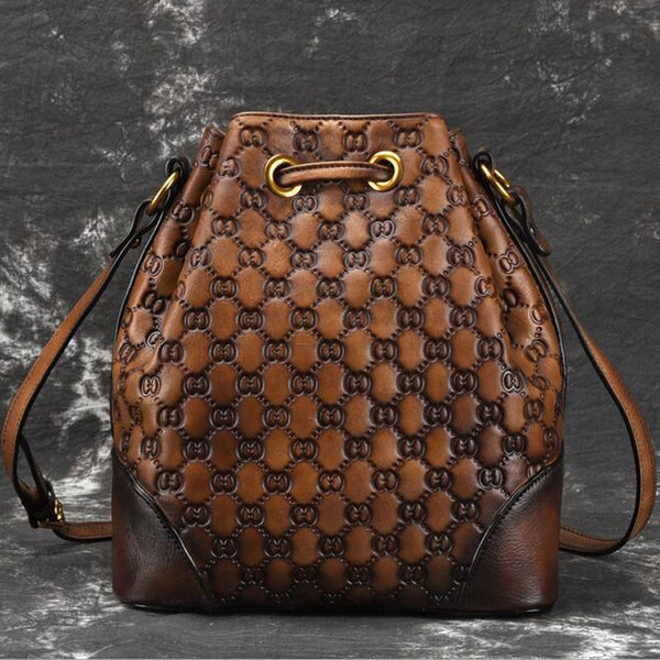 Retro Diamond Lattice Bucket Bag