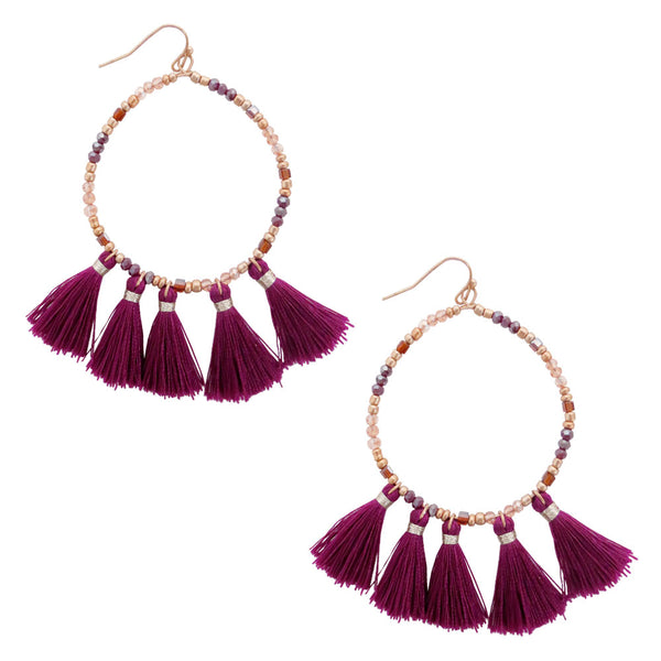 Hoop Beaded Tassel Earrings