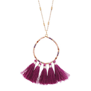 Hoop Beaded Tassel Necklace